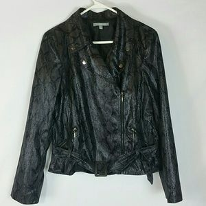 Black shiny snakeskin faux leather moto jacket L